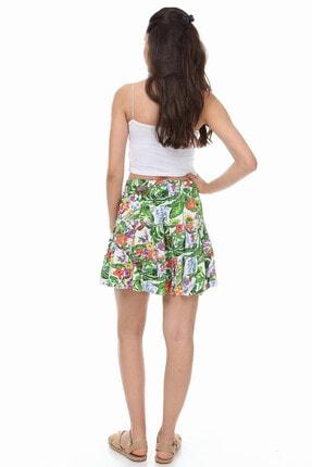 Mi&So Kadın Yeşil Beyaz Beli Lastikli Üç Parça Fırfırlı Etek 3