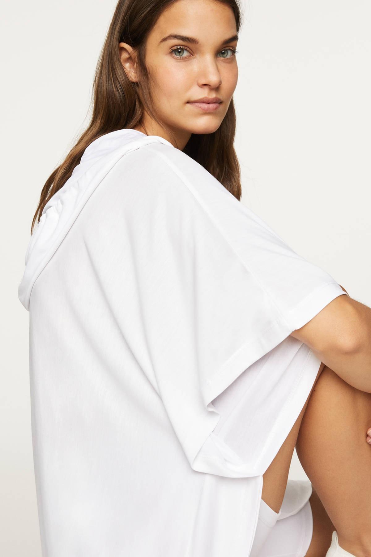 Oysho Kadın Beyaz Panço Tarzı Oversize Modal Sweatshirt 2