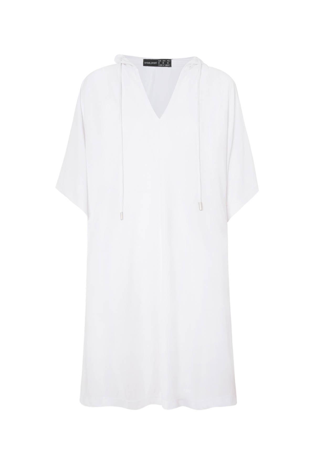 Oysho Kadın Beyaz Panço Tarzı Oversize Modal Sweatshirt 4