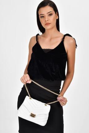 Bagzone Beyaz Kadın  Zincir Askılı Kapitone Omuz Çantası 10HD2006 1