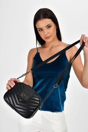 Bagzone Siyah Kadın  V Nakışlı Kilit Detay Omuz Çantası 10VA2061 2