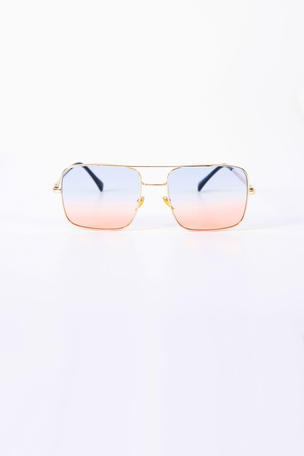 Dikdörtgen Degrade Güneş Gözlüğü Pembe Mavi Şeffaf Cam