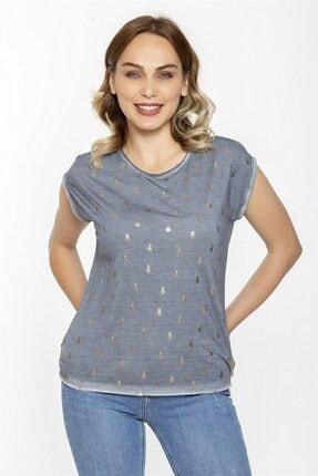 Ananas Baskılı Sırtı Dantelli T-shirt-mısty Fog resmi