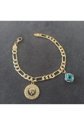 TAKI TASARIM Kadın Altın Klasık Zıncır Ceyreklı Boncuklu Künye Ölçü 20 cm 0