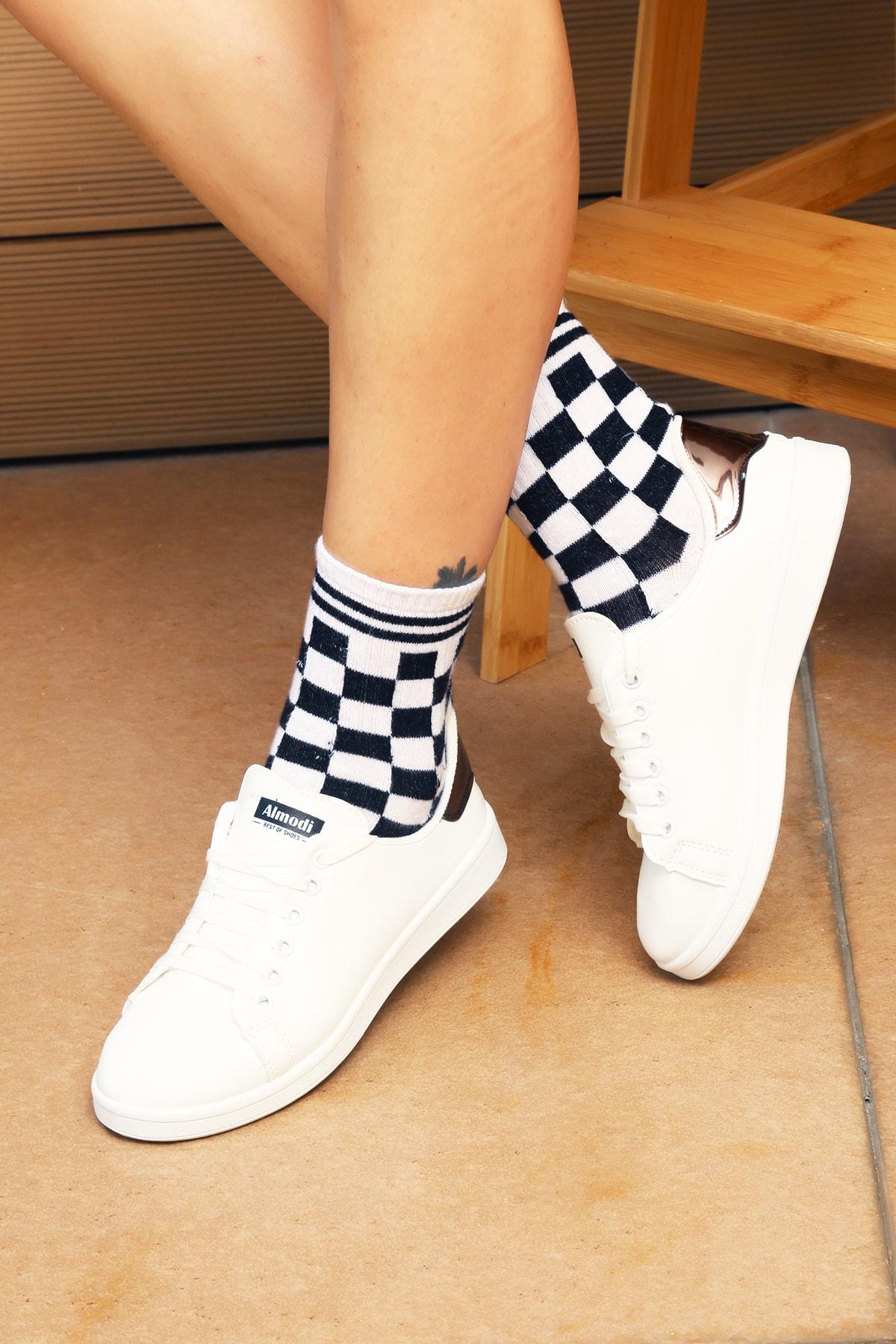 Ayakkabı Modası Beyaz Gümüş Kadın Ayakkabı M4000-19-110003R
