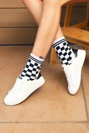 Ayakkabı Modası Beyaz Siyah Kadın Ayakkabı M4000-19-110003R 0
