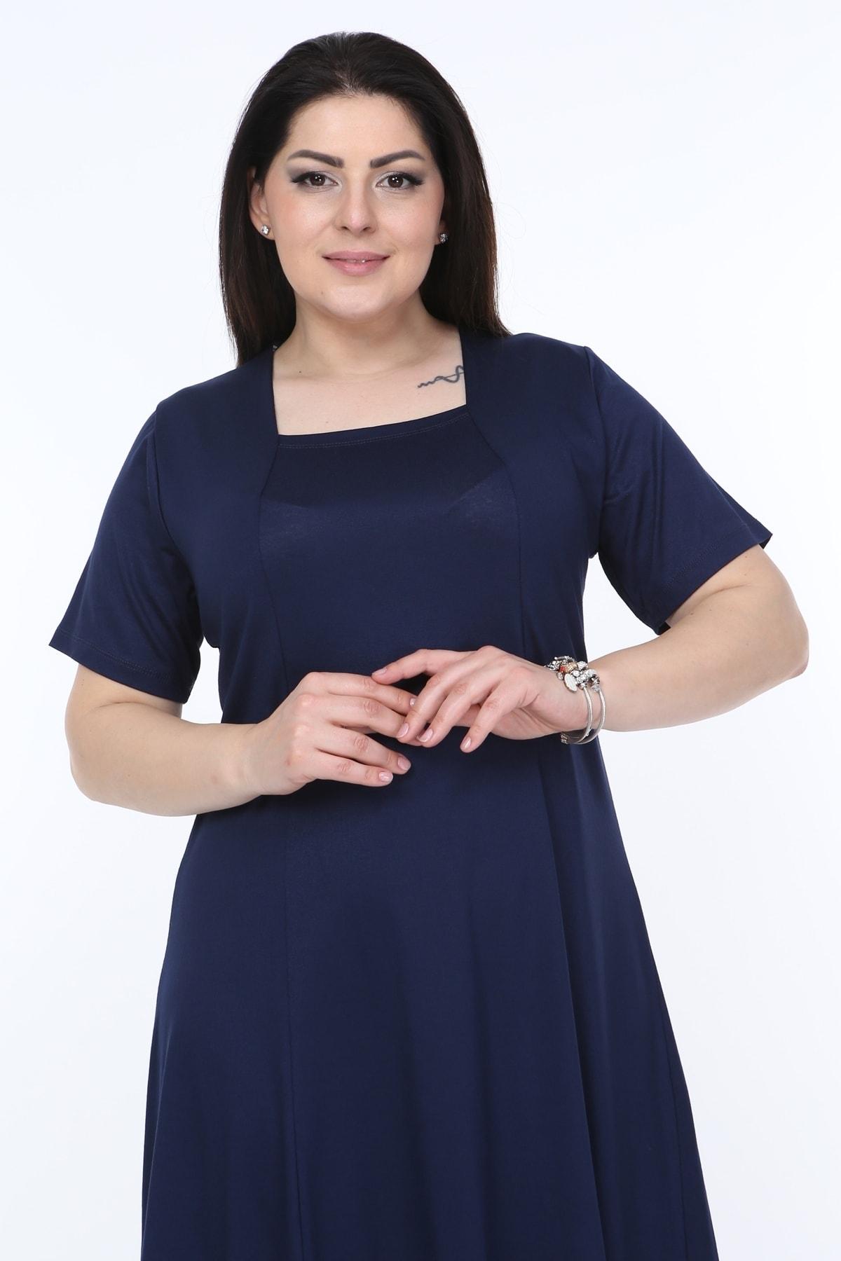Kadın Lacivert Kısa Kollu Kare Yaka Elbise