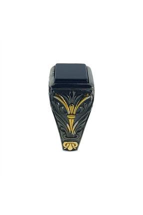 TAKISATIS Erkek Dikdörtgen Onix Taşlı Renkli Gümüş Yüzük  CR006-2-24 3