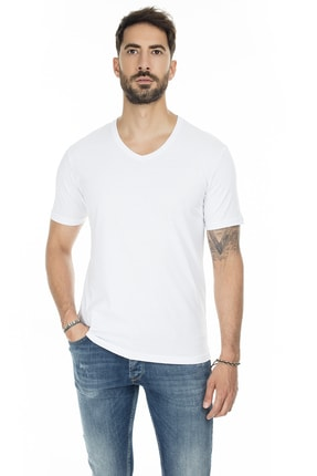 Buratti Erkek BEYAZ V Yaka Slim Fit Pamuklu Basic T Shirt 5722512V 0