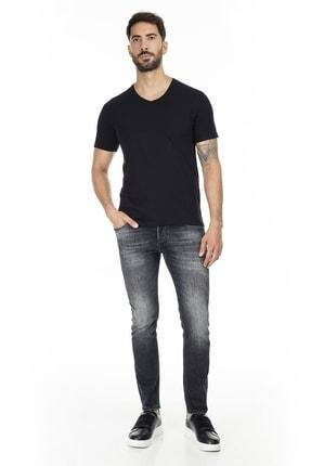 Buratti Erkek SİYAH V Yaka Slim Fit Pamuklu Basic T Shirt 5722512V 4