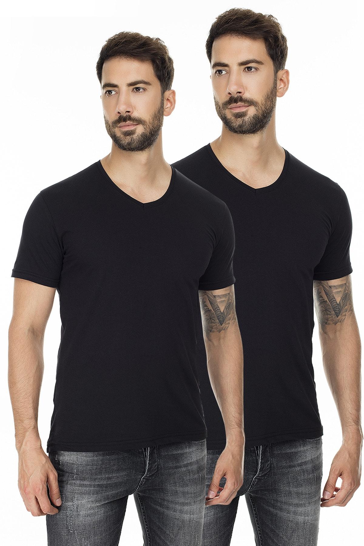 Buratti Erkek SİYAH-SİYAH 2'li Paket V Yaka Slim Fit Pamuklu Basic T Shirt 5722512V2 0