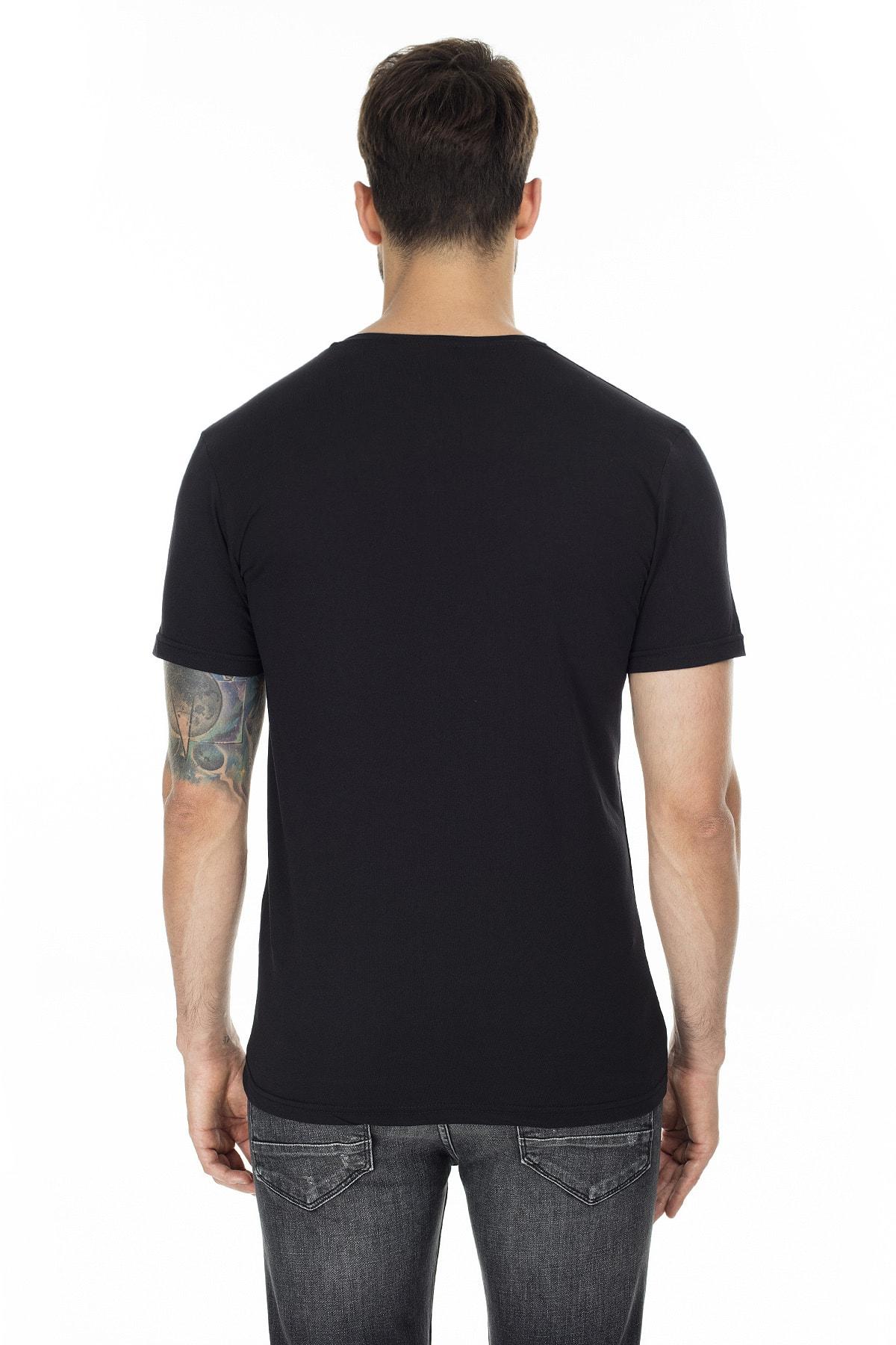 Buratti Erkek SİYAH-SİYAH 2'li Paket V Yaka Slim Fit Pamuklu Basic T Shirt 5722512V2 2
