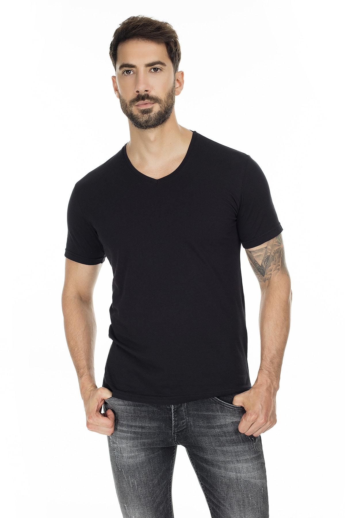 Buratti Erkek SİYAH-SİYAH 2'li Paket V Yaka Slim Fit Pamuklu Basic T Shirt 5722512V2 3