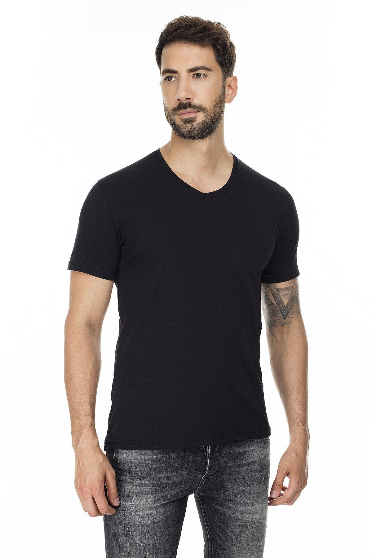 Buratti Erkek SİYAH-SİYAH 2'li Paket V Yaka Slim Fit Pamuklu Basic T Shirt 5722512V2 4