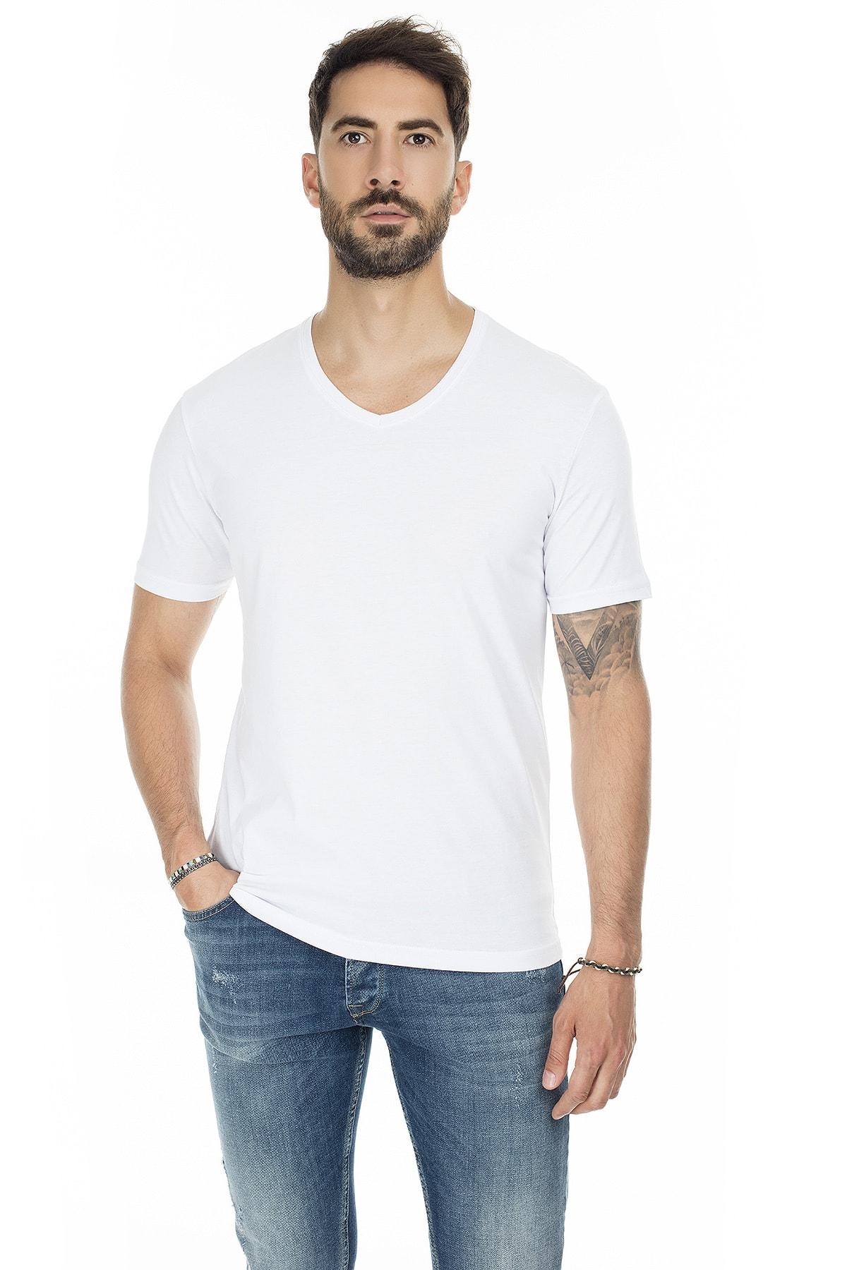 Buratti Erkek BEYAZ-BEYAZ 2'li Paket V Yaka Slim Fit Pamuklu Basic T Shirt 5722512V2 1