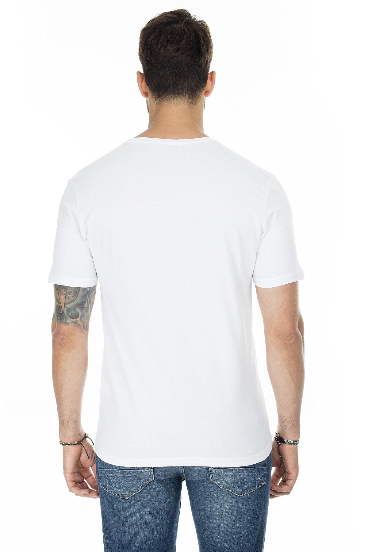 Buratti Erkek BEYAZ-BEYAZ 2'li Paket V Yaka Slim Fit Pamuklu Basic T Shirt 5722512V2 2