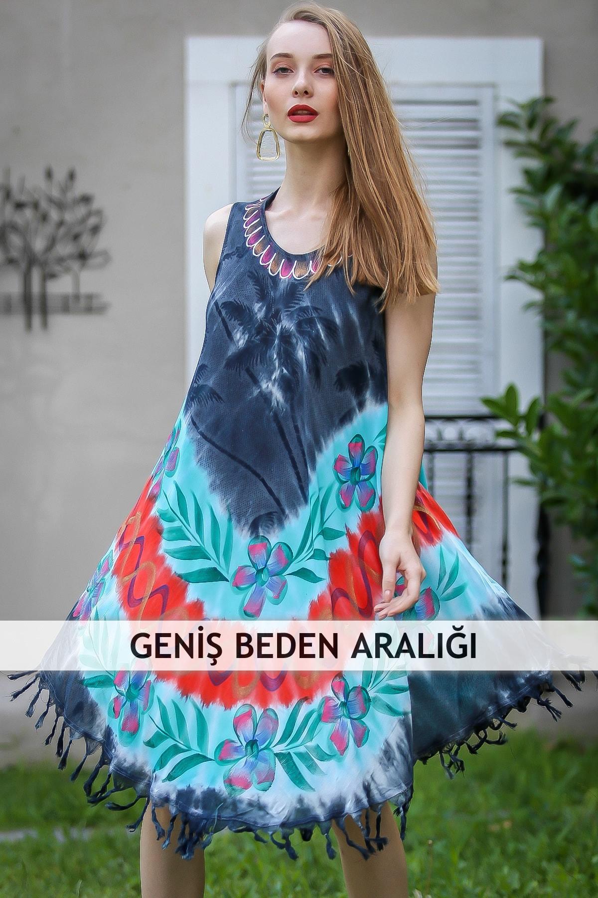 Kadın Multi Bohem Batik Çiçek Desenli Saçaklı Asimetrik Elbise M10160000El96647