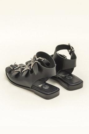 Elle Hakiki Deri Rahel Siyah Kadın  Sandalet 20YEK3143754 2