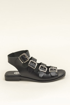 Elle Hakiki Deri Rahel Siyah Kadın  Sandalet 20YEK3143754 3