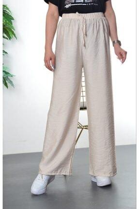 Modayns Kadın Taş Renkli Beli Lastikli Dokuma Salaş Pantolon 1