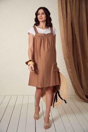 Görsin Hamile Kadın Düğme Detaylı Askılı  Vizon Hamile Elbise 0