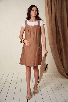 Görsin Hamile Kadın Düğme Detaylı Askılı  Vizon Hamile Elbise 1