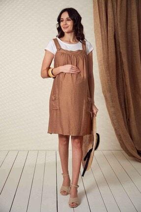 Görsin Hamile Kadın Düğme Detaylı Askılı  Vizon Hamile Elbise 2