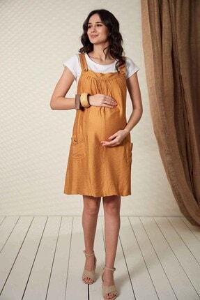 Görsin Hamile Kadın Düğme Detaylı Askılı Hardal Hamile Elbise 3