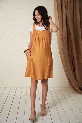 Görsin Hamile Kadın Düğme Detaylı Askılı Hardal Hamile Elbise 4