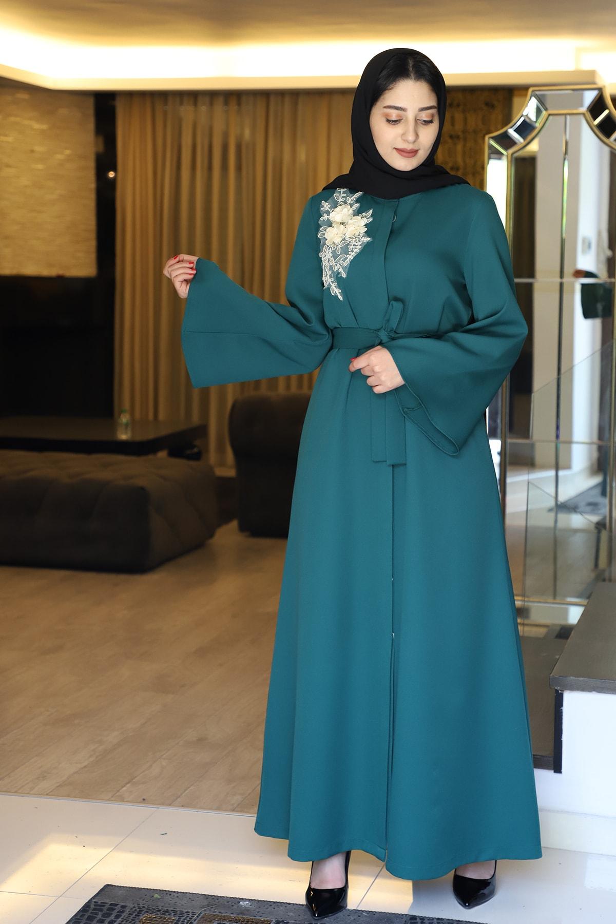 Kadın Yeşil Dantelli Ferace 2108-21