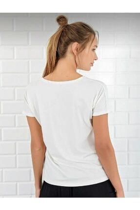 BLACK Kadın Ekru V Yaka Basic T-shirt 3