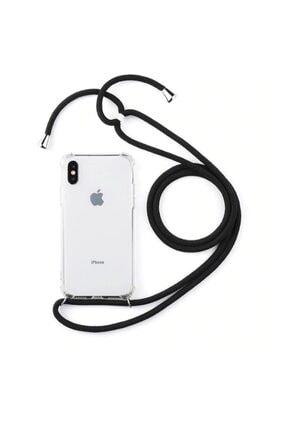 Xiaomi Mi 9 Şeffaf Boyun Askılı Beyaz (siyah Şeritli)kılıf 2