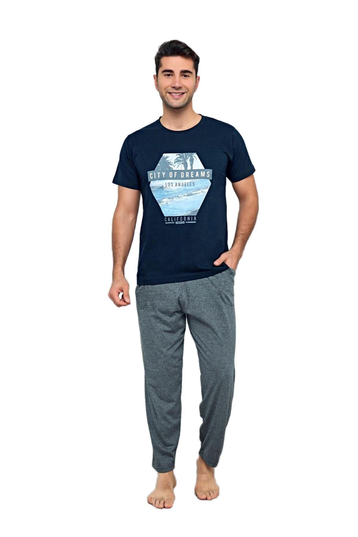 Tyler Lacivert/gri Pijama Takımı