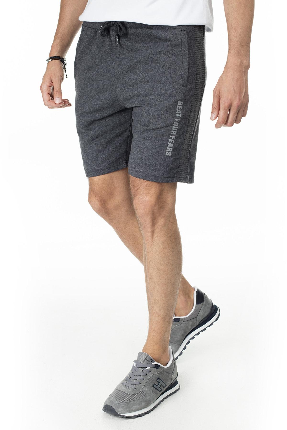 Buratti Erkek Siyah Elestan Cep Belden Bağlama Günlük Spor Slim Fit Short 568R165 2