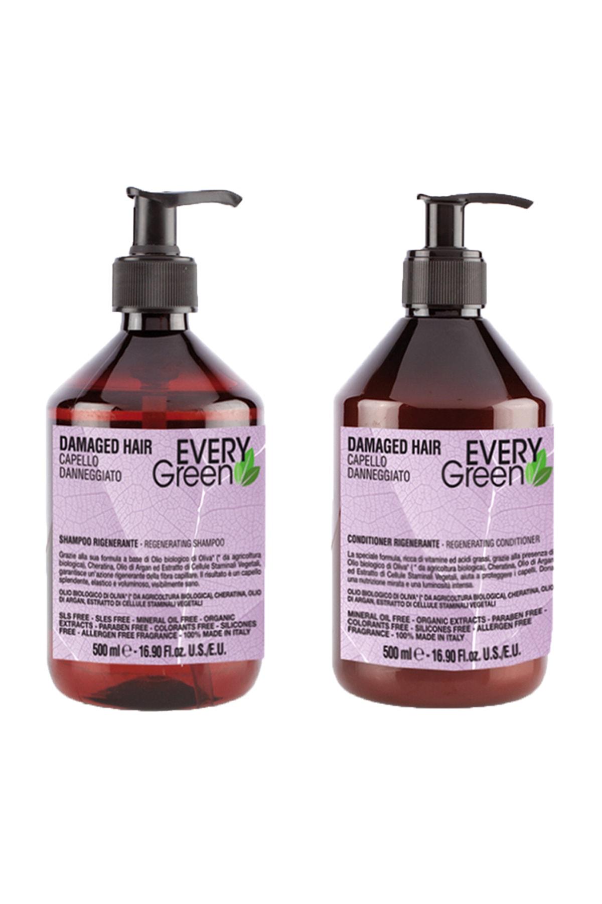 EveryGreen Yeniden Yapılandırıcı ve Onarıcı Yıpranmış Saçlar Serisi- Damaged Hair 500ml Şampuan + 500ml Krem 0