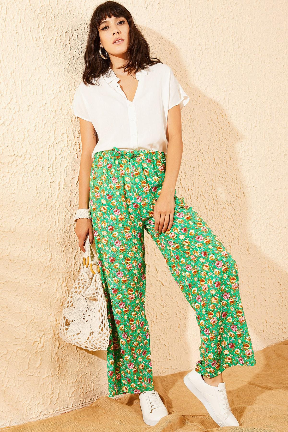 Bianco Lucci Kadın Yeşil Çiçek Desenli Beli Lastikli Bol Paça Pantolon 10081051 1