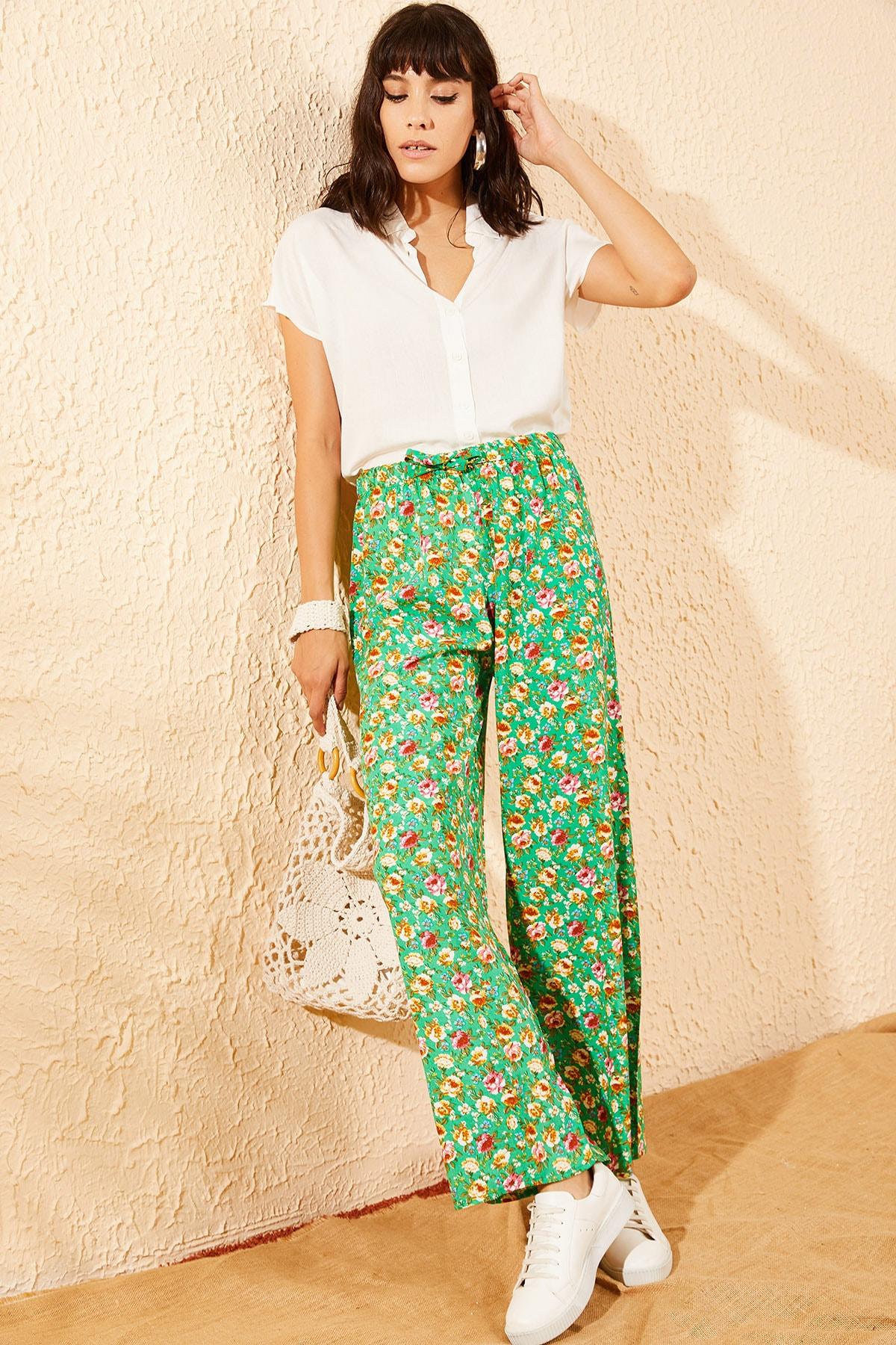 Bianco Lucci Kadın Yeşil Çiçek Desenli Beli Lastikli Bol Paça Pantolon 10081051 2