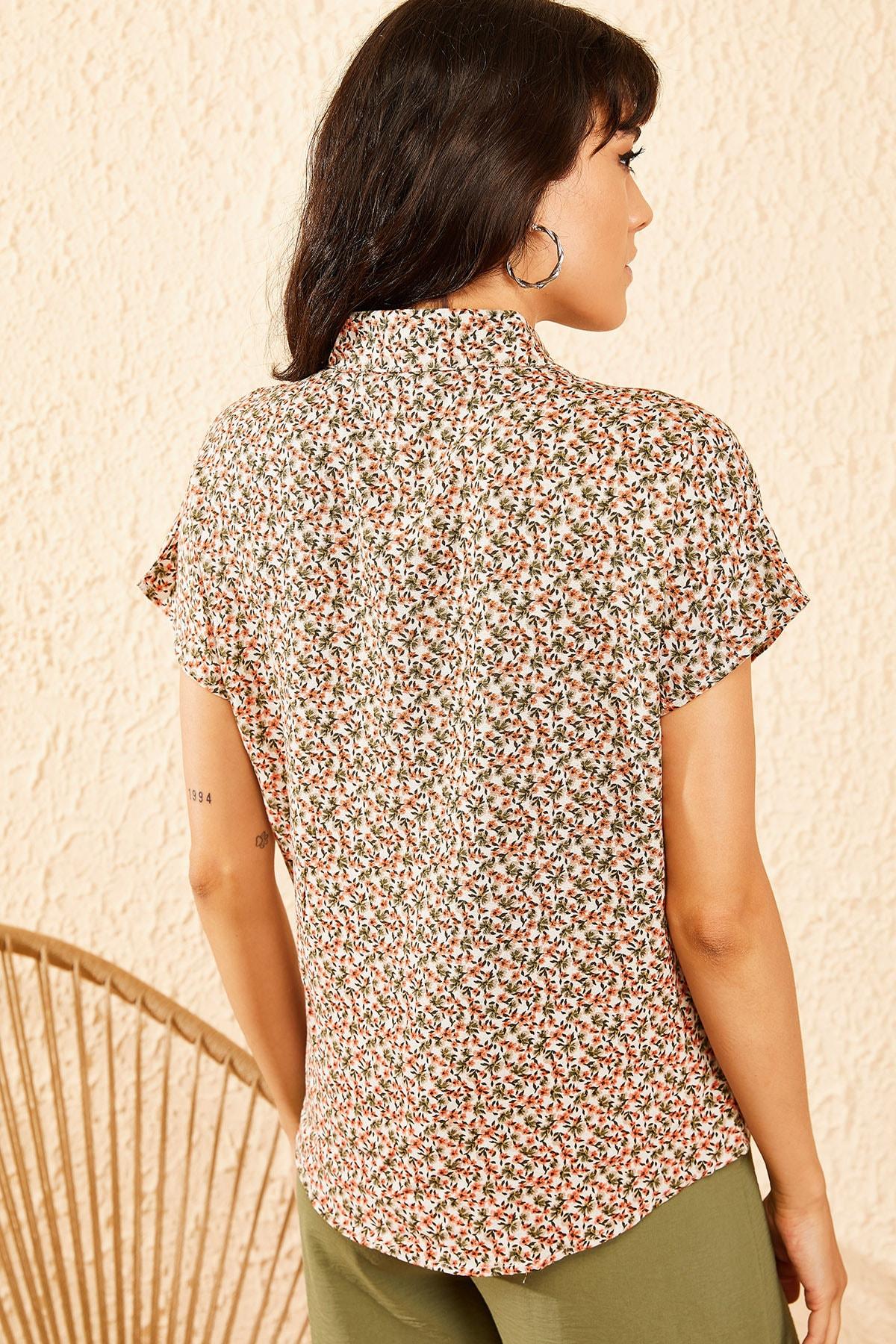 Bianco Lucci Kadın Bej Multi Küçük Çiçek Desenli Yarasa Kol Gömlek 10081046 2