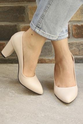 Denizin Çantaları Kadın Krem Topuklu Ayakkabı 0