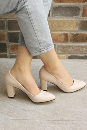 Denizin Çantaları Kadın Krem Topuklu Ayakkabı 2