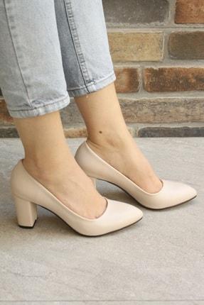 Denizin Çantaları Kadın Krem Topuklu Ayakkabı 3