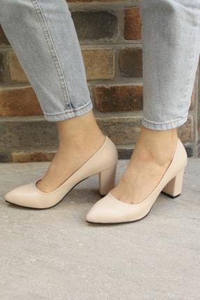 Denizin Çantaları Kadın Krem Topuklu Ayakkabı 4