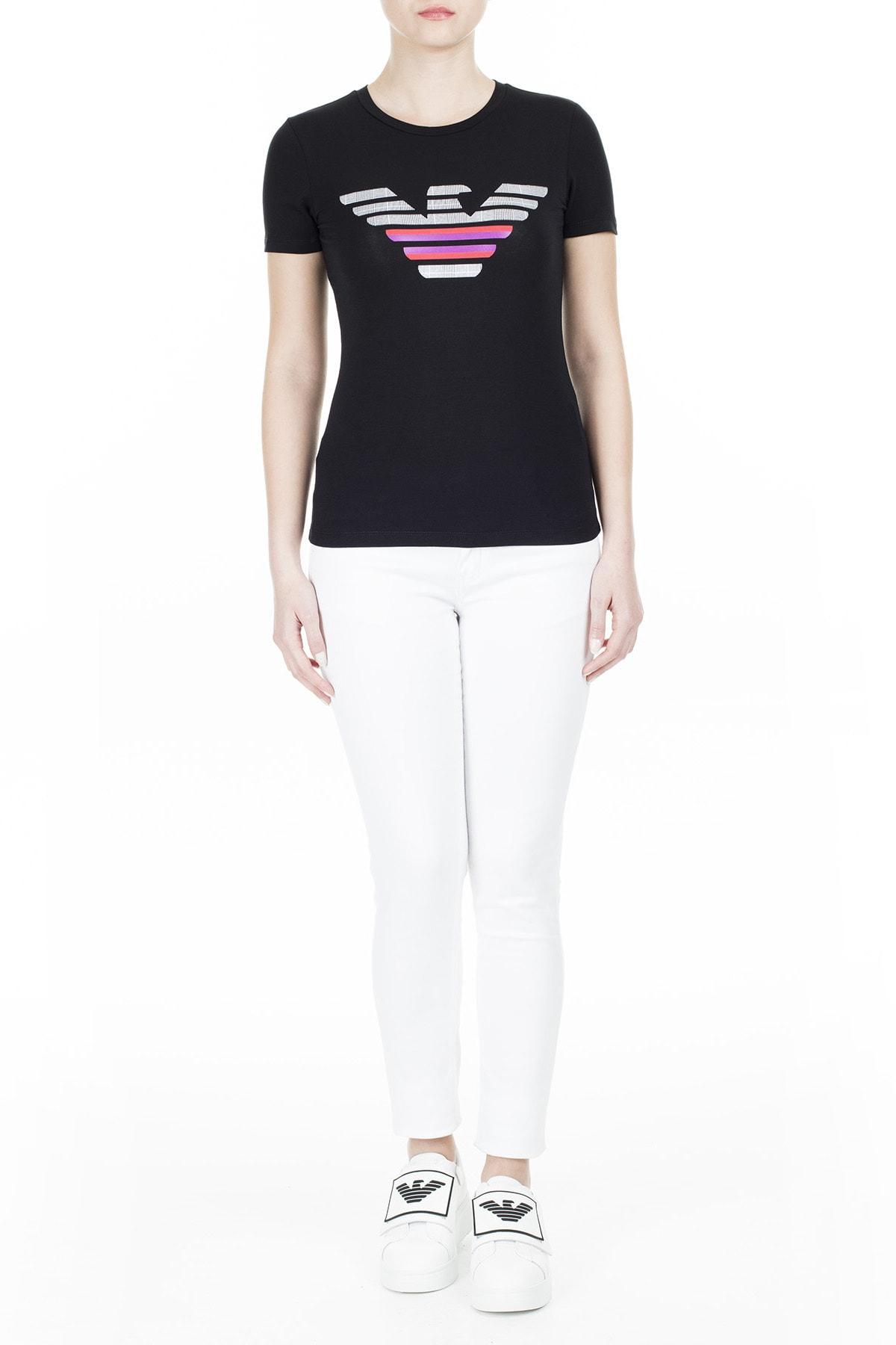 Emporio Armani Kadın Siyah T-Shirt 3H2T8A 2J07Z 0999 4