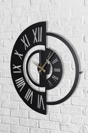 Muyika Design Muyika Ruota Metal Siyah Duvar Saati 50x50 cm 0