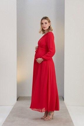 Görsin Hamile Gör&sin Kuşak Detaylı Hamile Mercan Elbise 3