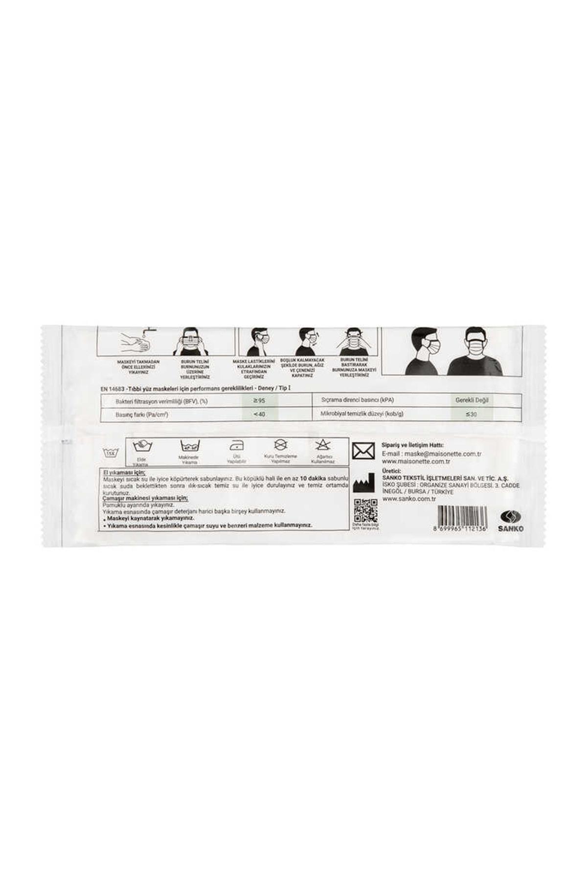Maisonette Yıkanabilir Pamuklu Yüz Maskesi 25 li Paket 4