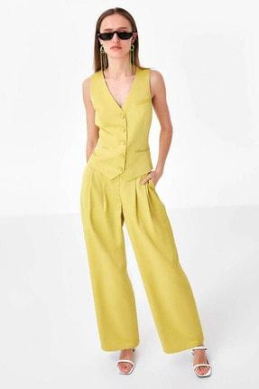Twist Kadın Sarı Düğme Kapama Yelek TS1200007014009 1