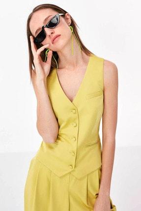 Twist Kadın Sarı Düğme Kapama Yelek TS1200007014009 3