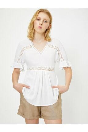 Koton Kadın Beyaz Dantel Detayli Bluz 9YAL68294IW 3