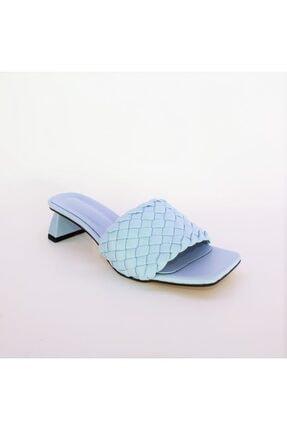 Miss Bella Kadın Mavi Örgülü Bantlı Kısa Topuklu Sandalet Terlik 0